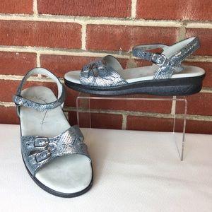 SAS Metallic Blue Leather Duo Quarter Strap Sandal
